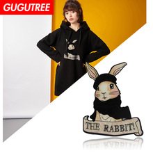GUGUTREE embroidery big rabbit patches animal cartoon patches badges applique patches for clothing YYX-19121030 gugutree embroidery big dragon patches animal patches badges applique patches for clothing dx 18