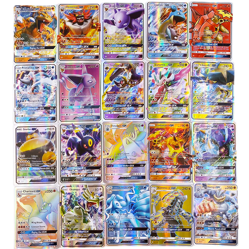 300 Pcs no repeat Pokemons GX card Shining TAKARA TOMY Cards Game Battle Carte Trading Children Toy-in Game Collection Cards from Toys & Hobbies