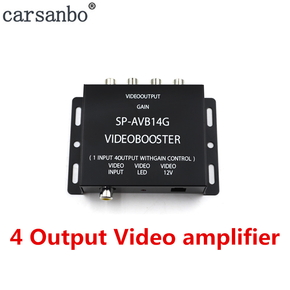 1 Input to <font><b>4</b></font> Output Car video amplifier Booster For car radio <font><b>monitor</b></font> image