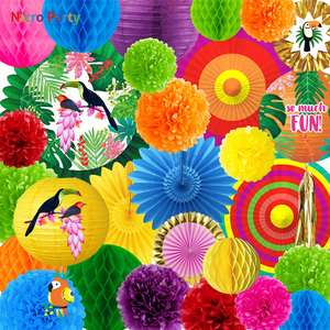 Image 5 - Choisissez denvoyer depuis lEspagne ou la Belgique,Nicro 30 pièces/ensemble Tropical perroquet thème fête décoration Kit Aloha Luau hawaïen plage décor bébé douche anniversaire # Set135