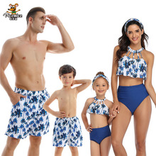 Family Swimwear Swimsuit Mother Daughter Bath Suits Dad Son Swim Shorts Mommy Daddy And Me Matching Clothes Outfits Look Tree leopard swimsuits family matching swimwear mother daughter bikini dad son swim trunks mommy and me family outfits look e0200