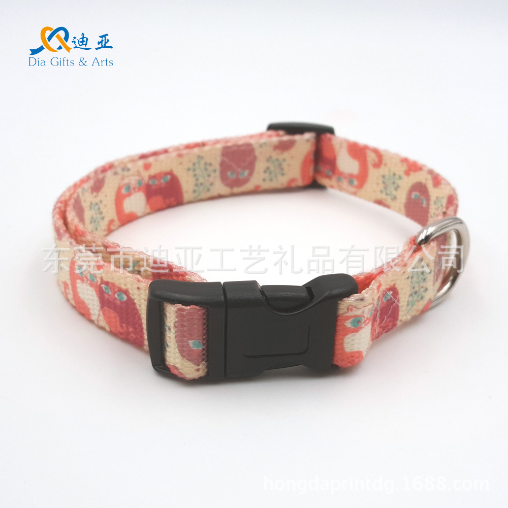 E-Commerce 11-2.0 Cm Thermal Transfer Owl-Polyester Cotton Skin-Friendly Pet Collar Dog Collar