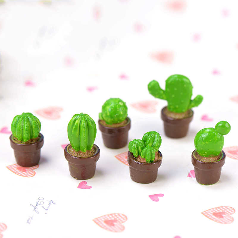 Mini Lovely Green Potted Plants Lovely Cactus Desert Cacti Home Ornament Small Statue Little Figurine Crafts Decoration