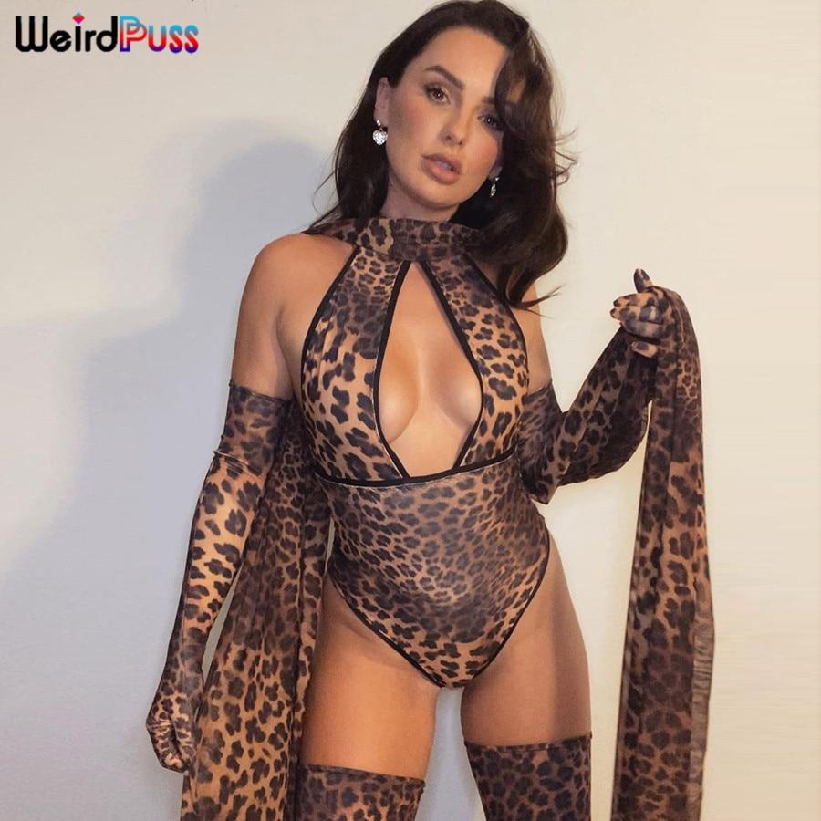 Seltsame Puss Frauen Sexy Leopard Print Aushöhlen Body Mit Handschuhe Halter Backless Partei Clubwear Mode Streetwear Outfits