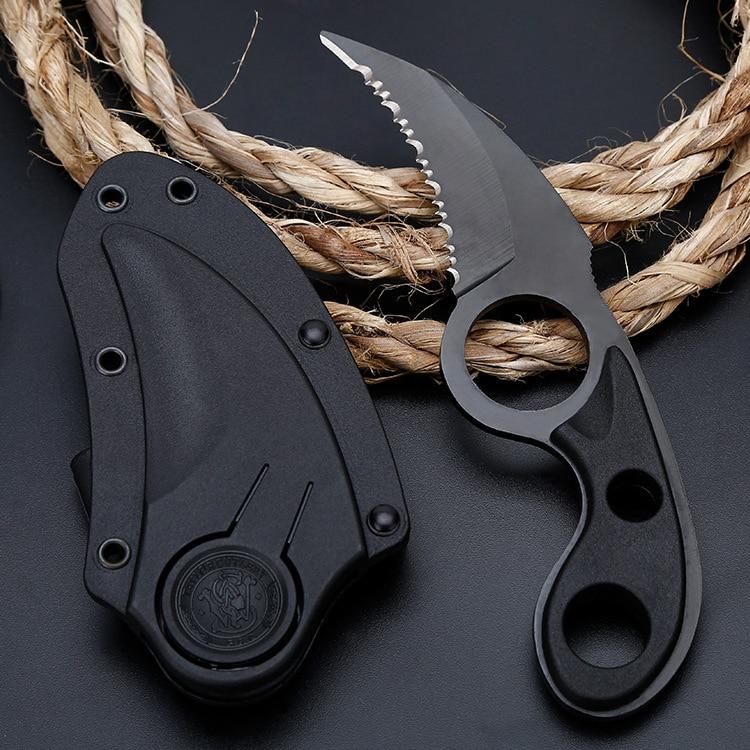 Aletler'ten Bıçaklar'de Av bıçağı Açık Kamp Araçları Tırtıklı Cep Bowie Karambit Bıçak Açık Kamp Pençe Serin Kılıf Kesme Aleti title=