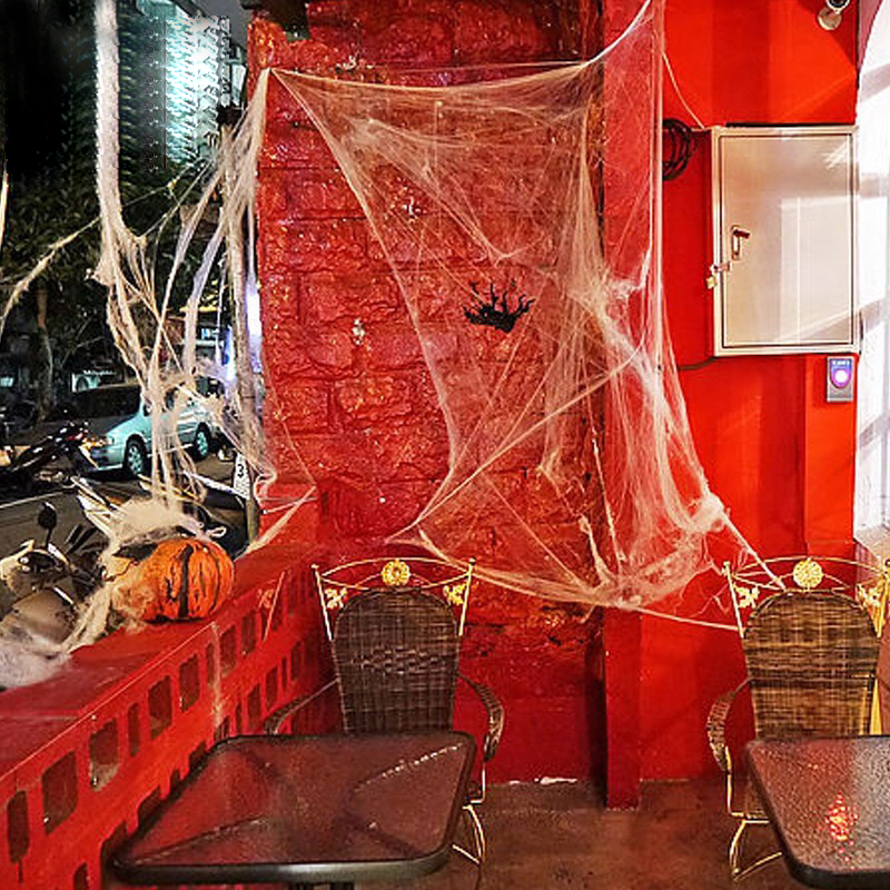20g Giant Stretchy SpiderWeb Halloween Cobweb Terror Party Decoration Bar Haunted House Halloween Spiders Web Halloween Decor