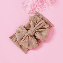 купить 1pcs Cute Chiffon Bow Hair Accessories Wide Nylon Headbands for Girls Fashion Elastic Knitted Wide Turban Head Wrap Haarbands дешево