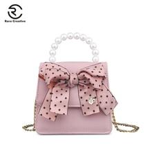 RARE CREATIVE PU Leather Ribbons Womens Bag Bow Luxury Handbags Women Bags Designer Fashion Brand Chains Shoulder PM6003
