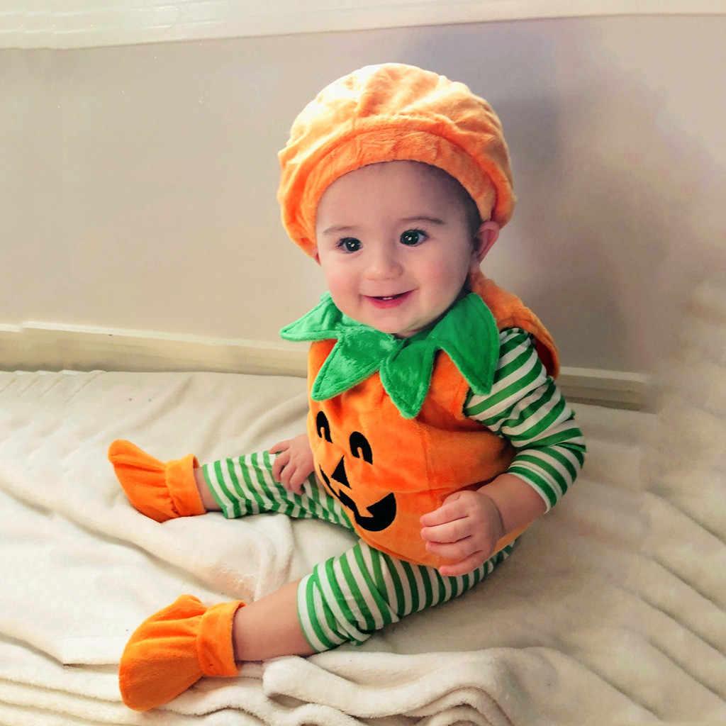 Комбинезон унисекс для новорожденных мальчиков и девочек, комбинезон с изображением демона тыквы, Ромпер на Хэллоуин, наряд со шляпой # G3