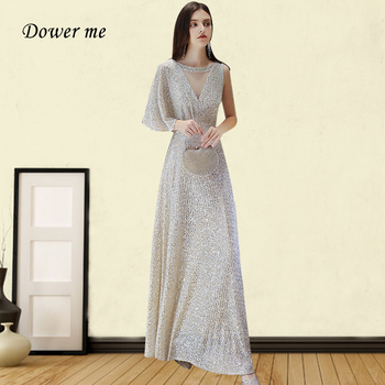 Champagne Silver A-Line Evening Dress GK006 Shiny Sequin Robe De Soiree O-Neck One Sleeve Women Party Gown Zipper Long Dresses