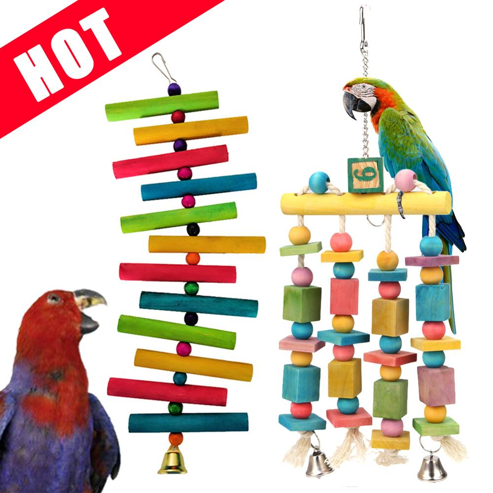 Parrot Toys Macaw Hanging Acrylic With Bells Bites Chew On Cages Cockatoo Stand Rack Swing Bird Toy Pet Product