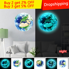 New Fluorescent blue earth Moon Cartoon DIY 3d Wall Stickers for kids rooms decoration bedroom Home decor Living Room