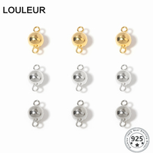 Louleur 925 Sterling Silver 6/8mm Magnetic Connector Lobster Clasps Buckle Hook Round Ball DIY Jewelry HandMade Connected Clasps