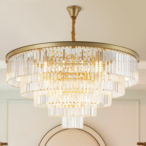 Image 2 - jmmxiuz Modern round golden chandelier crystal lighting restaurant American crystal lamp chandelier