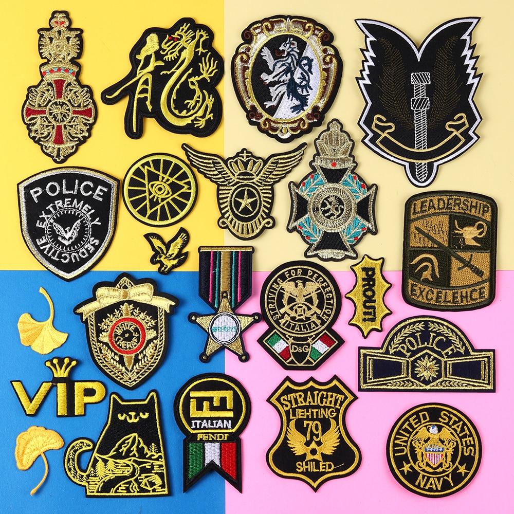 Gros or broderie militaire grade patchs pour vêtements tactique moral armée Police Logo fer sur les vêtements Badge Appliques