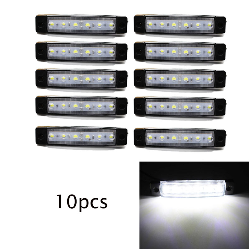10x 12V Car Side Marker Light External Lights White 6 SMD LED Auto Truck Lorry Indicator Trailer Light Tail Rear Side Lamps