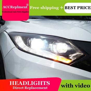 Car Styling For Honda Vezel Headlights 2015-2018 LED Headlight led drl H7 hid Bi-Xenon Double Lens low beam