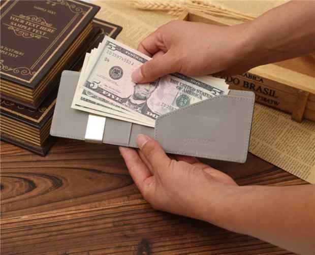 Aelicy, мужской кожаный кошелек с зажимами для денег, многофункциональные тонкие мужские кошельки для карт, Женский металлический зажим для денег, держатель для денег