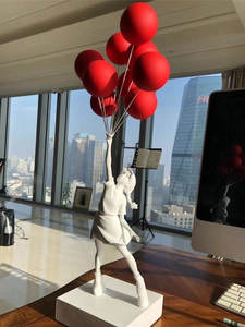 Statues Balloon Banksy Christmas-Gift Home-Decoration Girl Resin Luxurious Craft Art-Sculpture