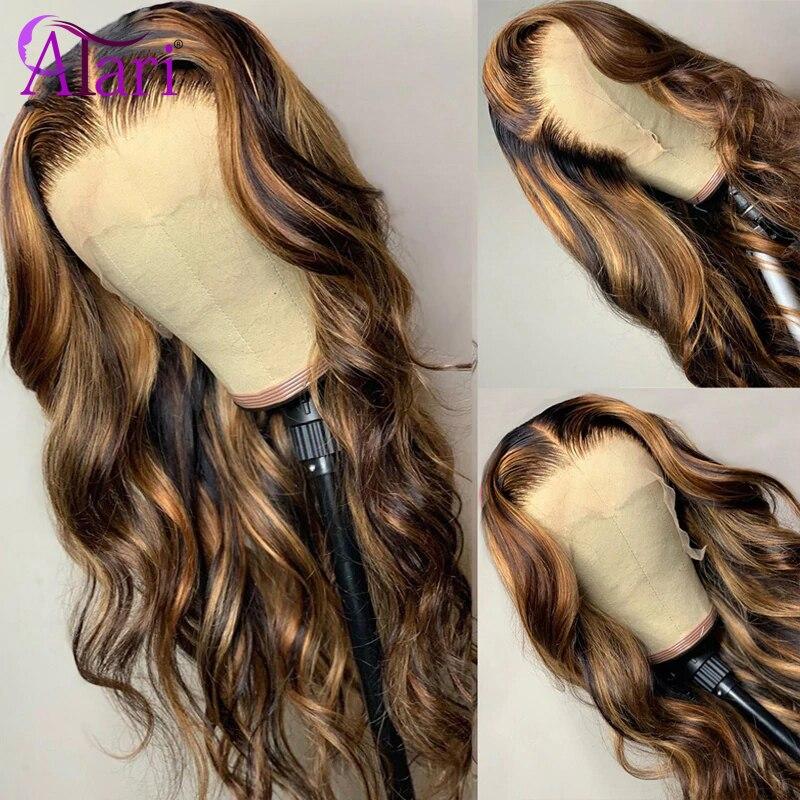 Pelucas de encaje transparente cabello ondulado malayo, 13x6, Color resaltado degradado, peluca con malla frontal, pelucas de cabello humano virgen 180%