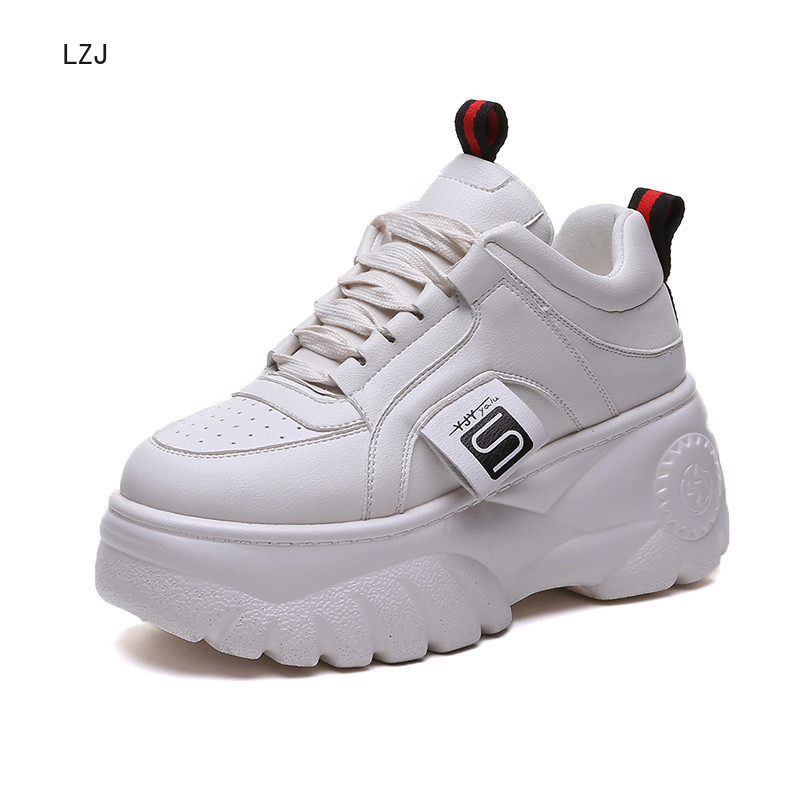 Fashion Woman High Platform Sneakers 2019 Spring Female Shoes  Black White Sneakers Breathable Zapatos Casual Mujer Size 35-39