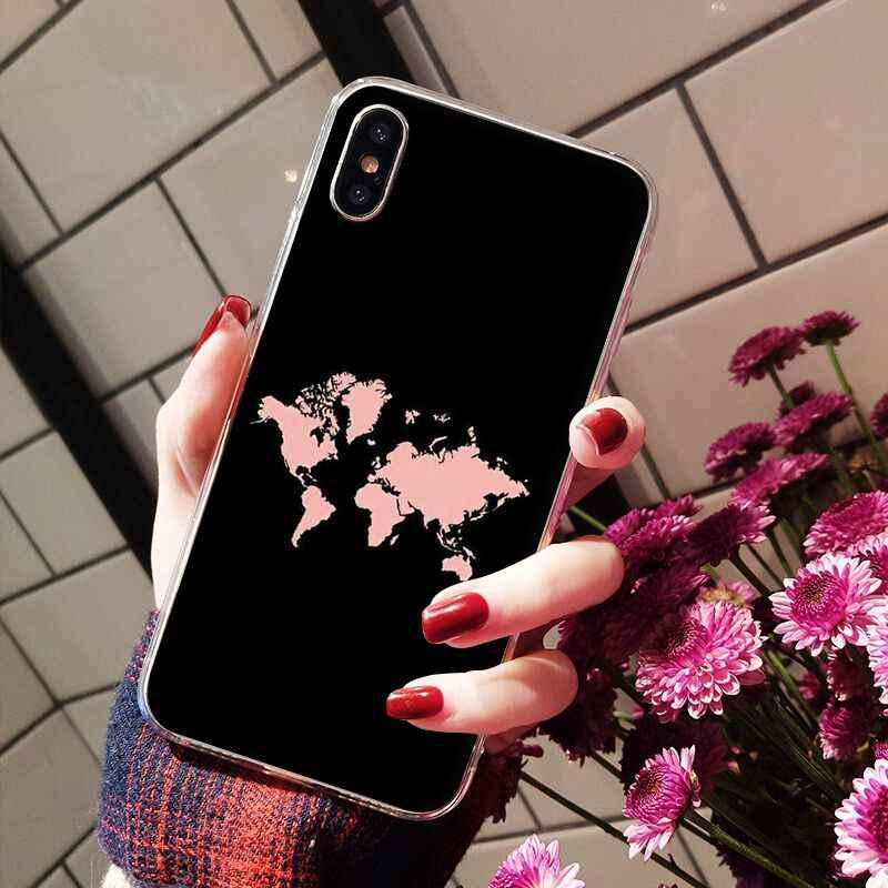 NBDRUICAI Mappa Del Mondo di Viaggio Aereo di TPU Molle Del Silicone Copertura Della Cassa Del Telefono per il iPhone 11 pro XS MAX 8 7 6 6S Plus X 5 5S SE XR copertura