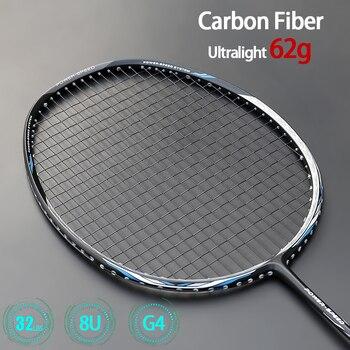 Ссветильник кие ракетки для бадминтона из углеродного волокна 8U 62 г, профессиональная ракетка для нападения типа с веревочными сумками, мак...