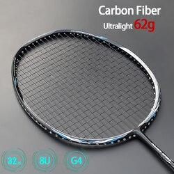 الترا ضوء 8U 62g كرة تنس ريشة من ألياف الكربون المضارب المهنية نوع الهجوم مضرب مع سلاسل حقائب ماكس 32lbs G4 بادل الرياضة