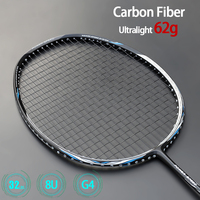 Ultra Light 8U 62g Carbon Fiber Badminton Rackets Professional Offensive Type Racket With Strings Bags Max 32lbs G4 Padel Sports