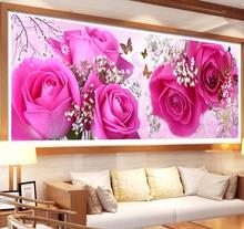 5d diy diamante bordado flor rosa ponto cruz kit pintura diamante cheio flores imagem da arte de strass decoração presente do amor