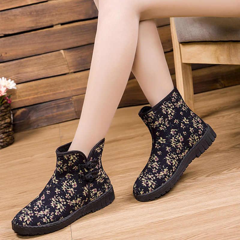 Kadın yarım çizmeler çiçek yan düğme pamuklu kumaş bayanlar kar botları rahat kadın nefes düz alçak topuk kadın kış ayakkabı