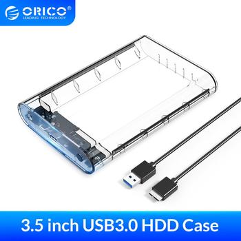 ORICO 3.5 inch Transparent HDD Enclosure Sata USB 3.0 Hard Drive Case Tool Free External Hdd Box Support UASP Up to 8TB