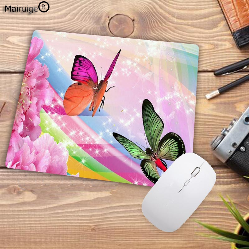 Pink Butterfly Anti-Slip Mouse Pad Gaming Mat Mousepad For Optical Laser Mouse