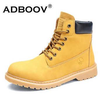 ADBOOV bout rond bottes de travail Femmes hommes en cuir plate-forme bottines Chaussures dhiver semelle en caoutchouc Chaussures Femmes Automne Hiver