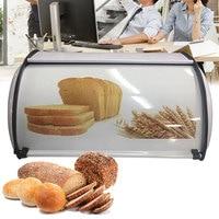 Decorative Kitchen Organizer Home Durable Protective Storage Bread Box Rustproof Retro Stainless Steel Roll Lid Cake Basket