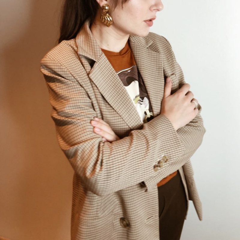 Classic Plaid Double Breasted Women Jacket Blazer Notched Collar Female Suits Coat Fashion Houndstooth 2019 Autumn
