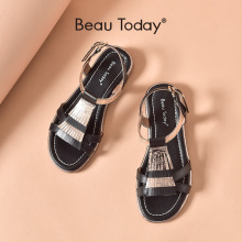 BeauToday Sandals Women Genuine Cow Leather Open Toe Shoes Reflective Narrow Band Fringe Buckle Strap Ladies Flats 32319