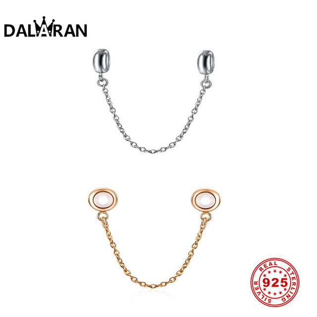 925 Sterling Silver Fit Original Charms Bracelet Glossy Rose Gold Safety Chain