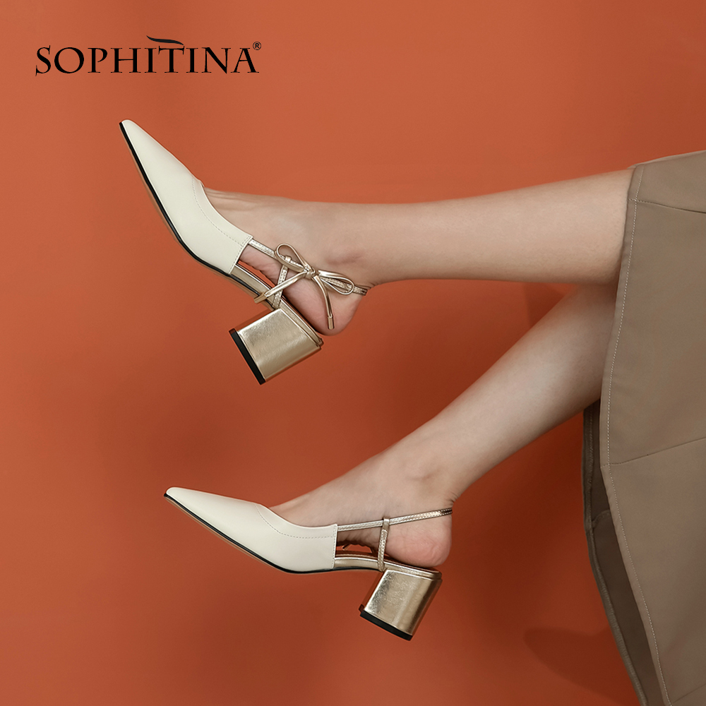 SOPHITINA Fashion Women Pumps High Quality Cow Leather Pointed Toe Butterfly-Knot Decoration Shoes Gorgeous Elegant Pumps SO443
