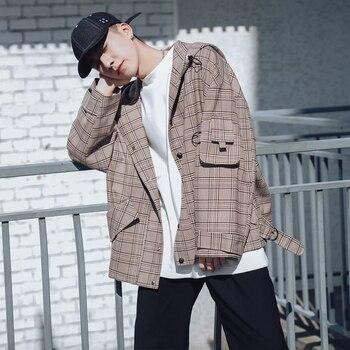 2019 Men's Hat Lattice Printing Outerwear Streetwear Bomber Jacket Loose Male Coats Grey/brown Color High-quality Windbreaker