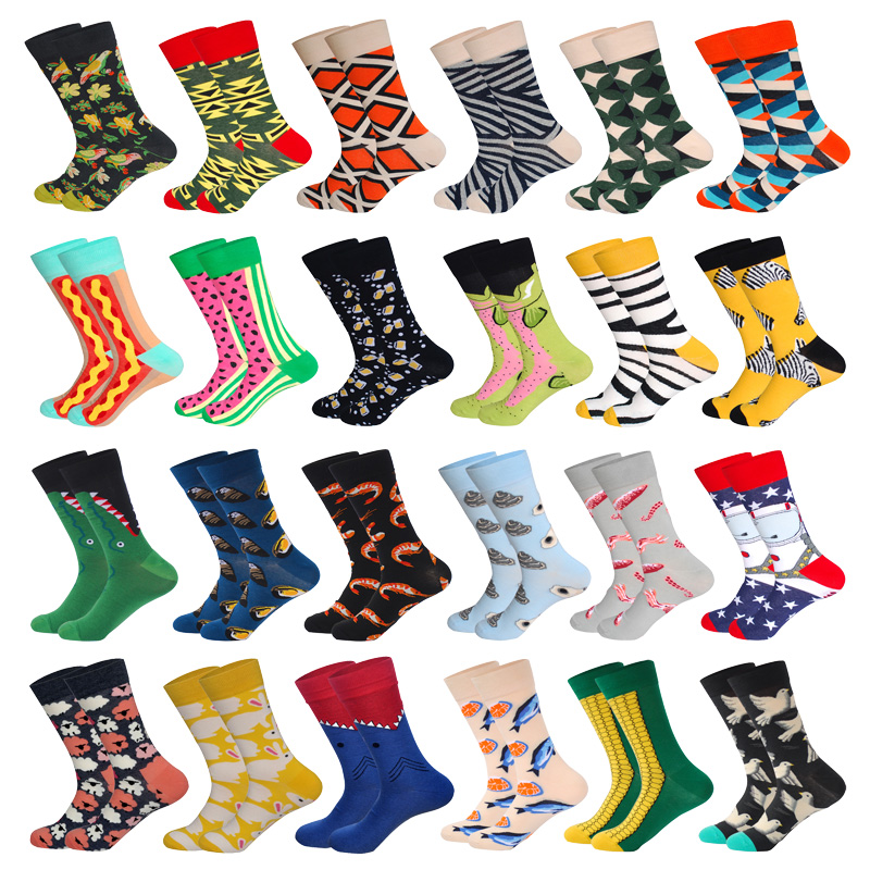 Downstairs 1 Pair Men Socks Combed Cotton Cartoon Animal Bird Shark Zebra Corn Watermelon Sea Food Geometric Novelty Funny Socks