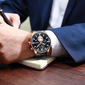 Image 5 - CURREN 시계 Mens 패션 스포츠 손목 시계 크로노 그래프 빛나는 손 시계 남성 시계 블루 스테인레스 스틸 밴드