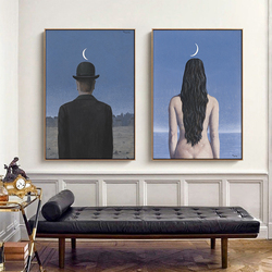 Rene Magritte Artist Surrealist Scandinavian Oil Painting on Canvas Posters and Prints Cuadros Wall Art Pictures For Living Room