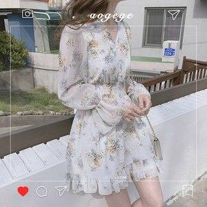 Image 3 - น่ารัก Mini ชุดปาร์ตี้วันที่สวมใส่ผู้หญิงแขนยาวเกาหลีญี่ปุ่น Ruffled สาวหวานเล็กๆน้อยๆดอกไม้ชุดชีฟอง 8503