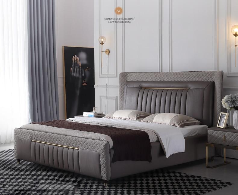 RAMA DYMASTY en cuir véritable lit souple design moderne lit bett, cama mode roi/reine taille chambre meubles