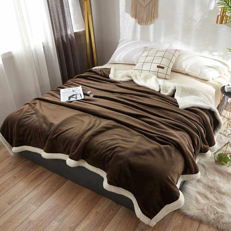 رشاقته الضأن الكشمير الفراش بطانية للاستخدام في الهواء الطلق الصوف غطاء سرير سيارة نزهة غطاء لحاف