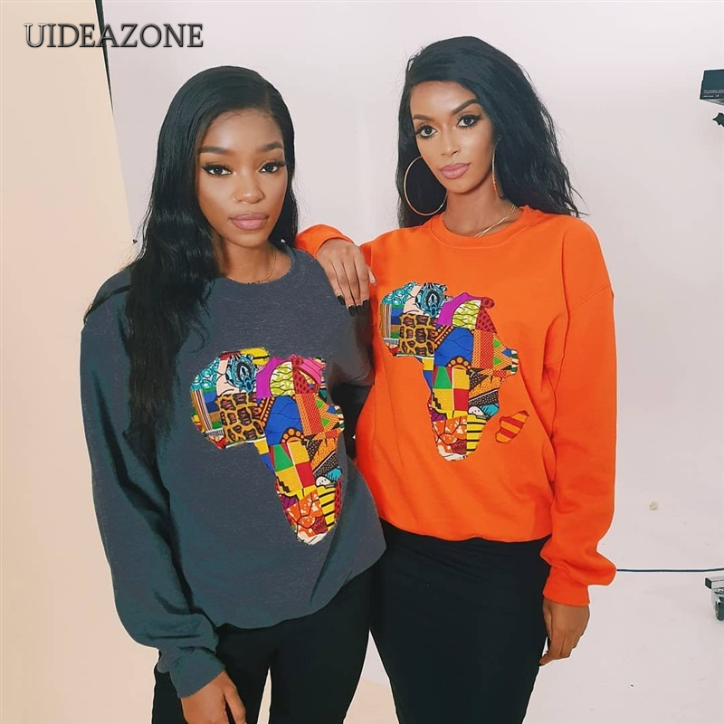 UIDEAZONE Colorful Africa Map Print Women Hoodies O Neck Casual Printed Pullovers Ladies Sweatshirts 2019 Autumn Streetwear