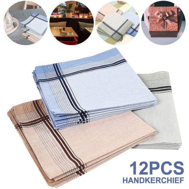 12 pçs lenços multicolorido xadrez listra masculino bolso quadrados negócios peito toalha bolso hanky hankies cachecóis 100% algodão