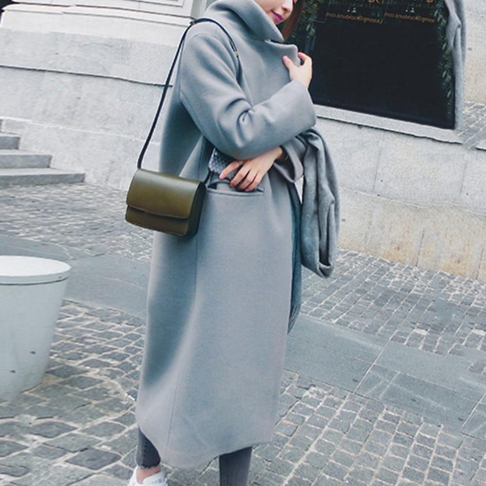 Women's Blend Coat 2019 Winter New Casual Korean Version Slim Long Wool Coat Full Sleeve Suit Collar Womens Plus Size Warm Coats