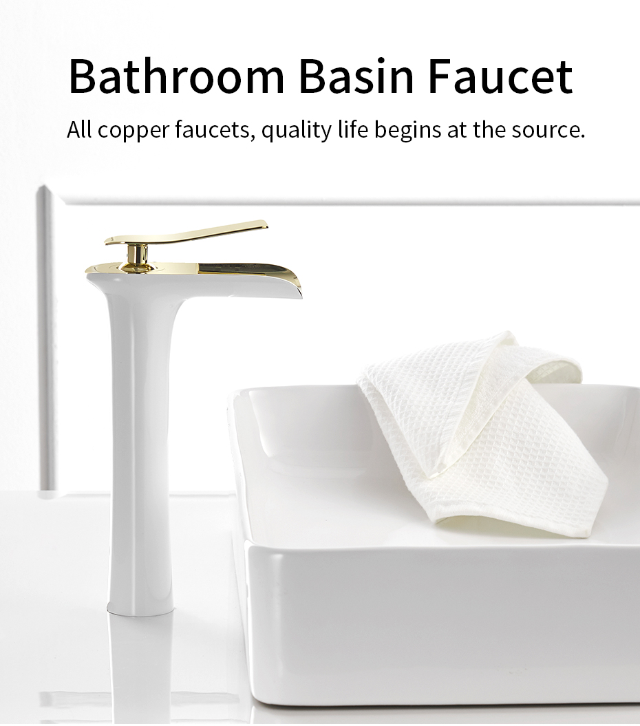 GAPPO Mono Basin Mixer Tap Single Lever Tall Counter Bathroom Sink Taps Lead Free Brushed Gold
